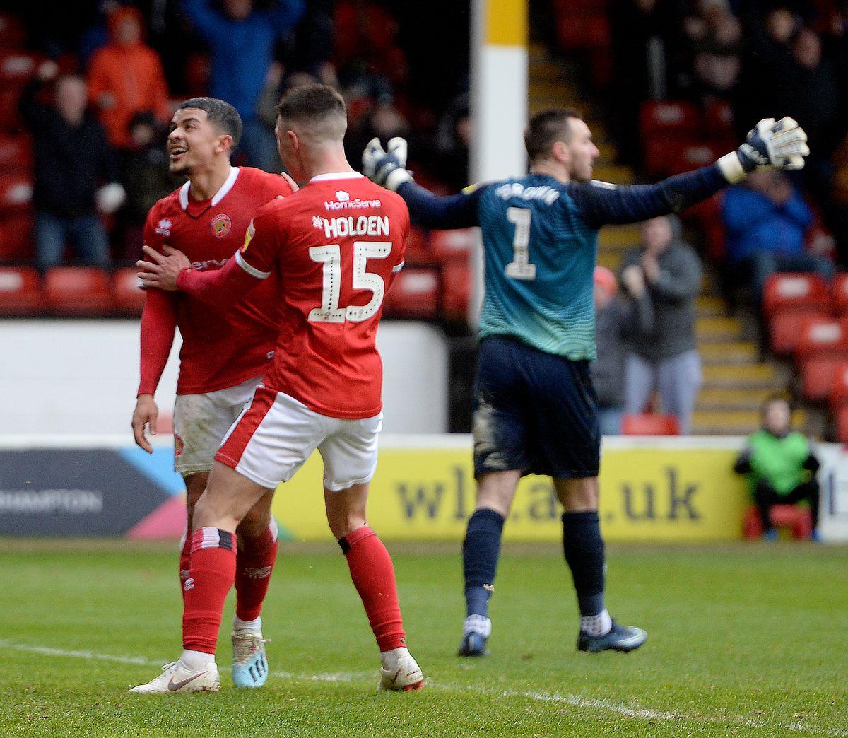 Josh Gordon celebrates his goal against Port Vale