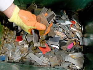 As part of the process, the knives are first cut up into pieces