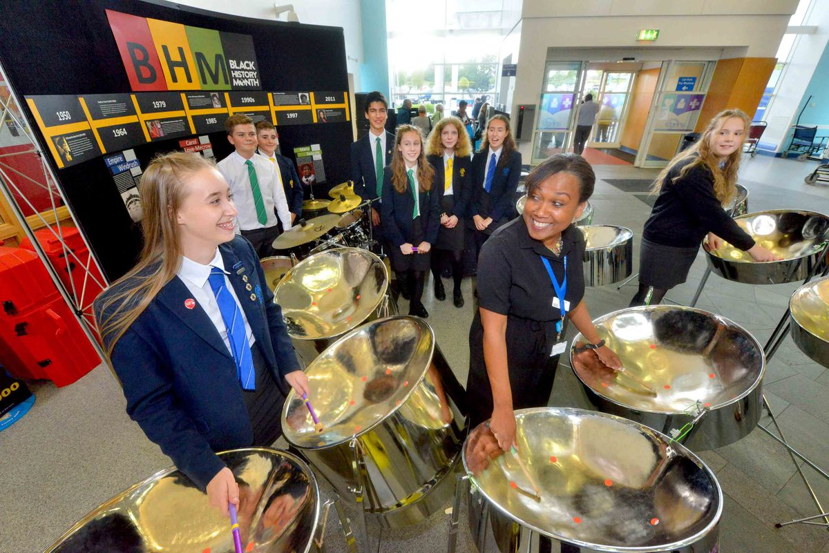 Summerhill School Steel Pan Band entertained visitors to the hospital as part of Black History Month