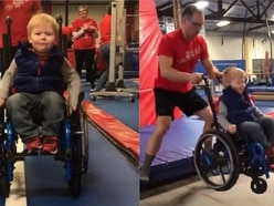 Boy bouncing on trampoline in wheelchair becomes viral star