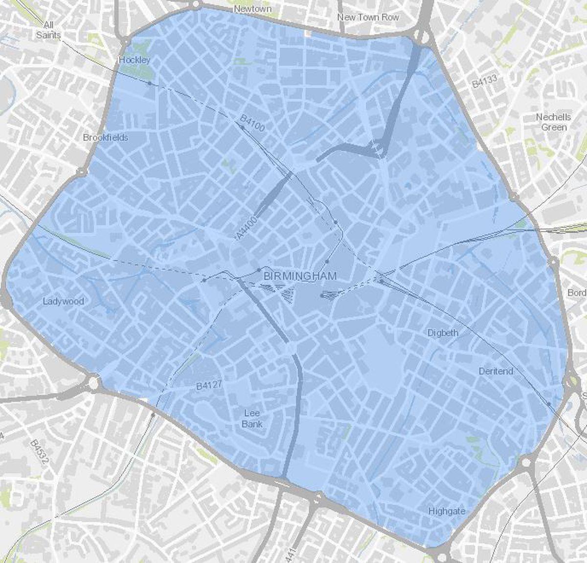 Birmingham Clean Air Zone map