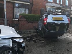 Car flips on its roof and others left badly damaged after Wolverhampton crash