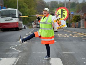 SANDWELL COPYRIGHT EXPRESS&STAR TIM THURSFIELD 30/04/21.Lollipop lady Linda Kelly from Smethwick, who is retiring after 13 years...