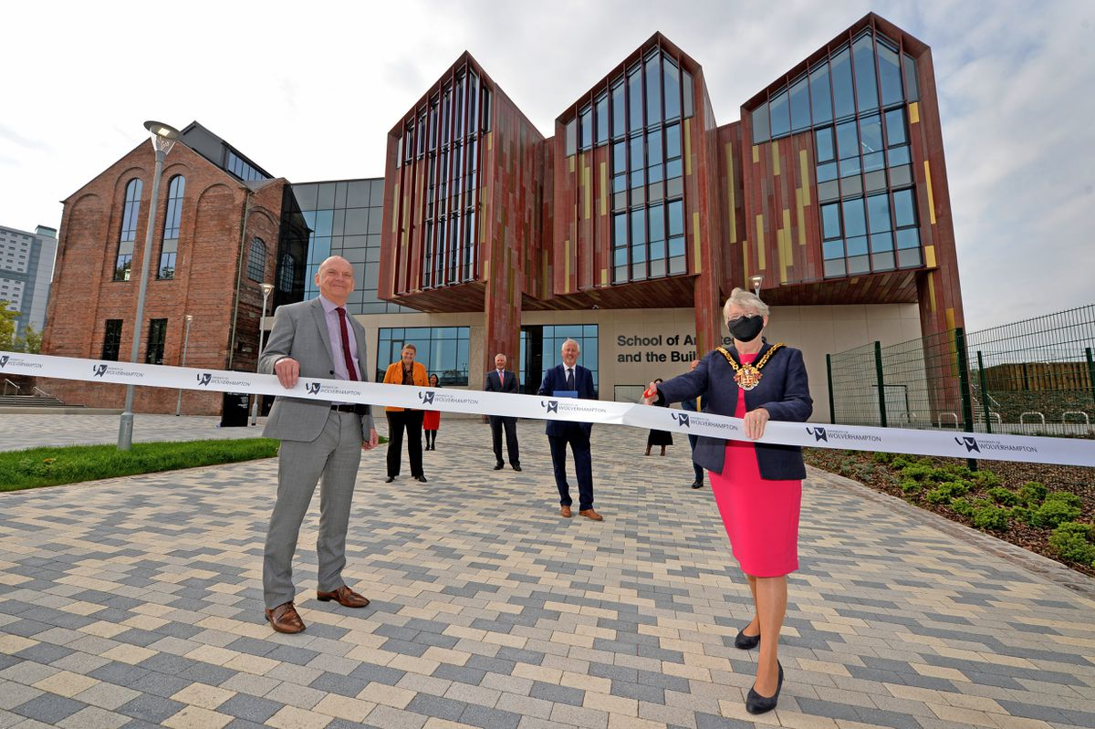 University vice chancellor Geoff Layer and Wolverhampton Mayor Claire Darke officially open the School of Architecture and Built Environment