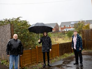 Peter Dobb, Daniel Bevan and Councillor Simon Phipps are calling on Dudley council to buy and build homes on land that attracts crime. Picture  by Simon Phipps