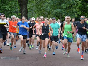 The runners get the parkrun underway at West Park