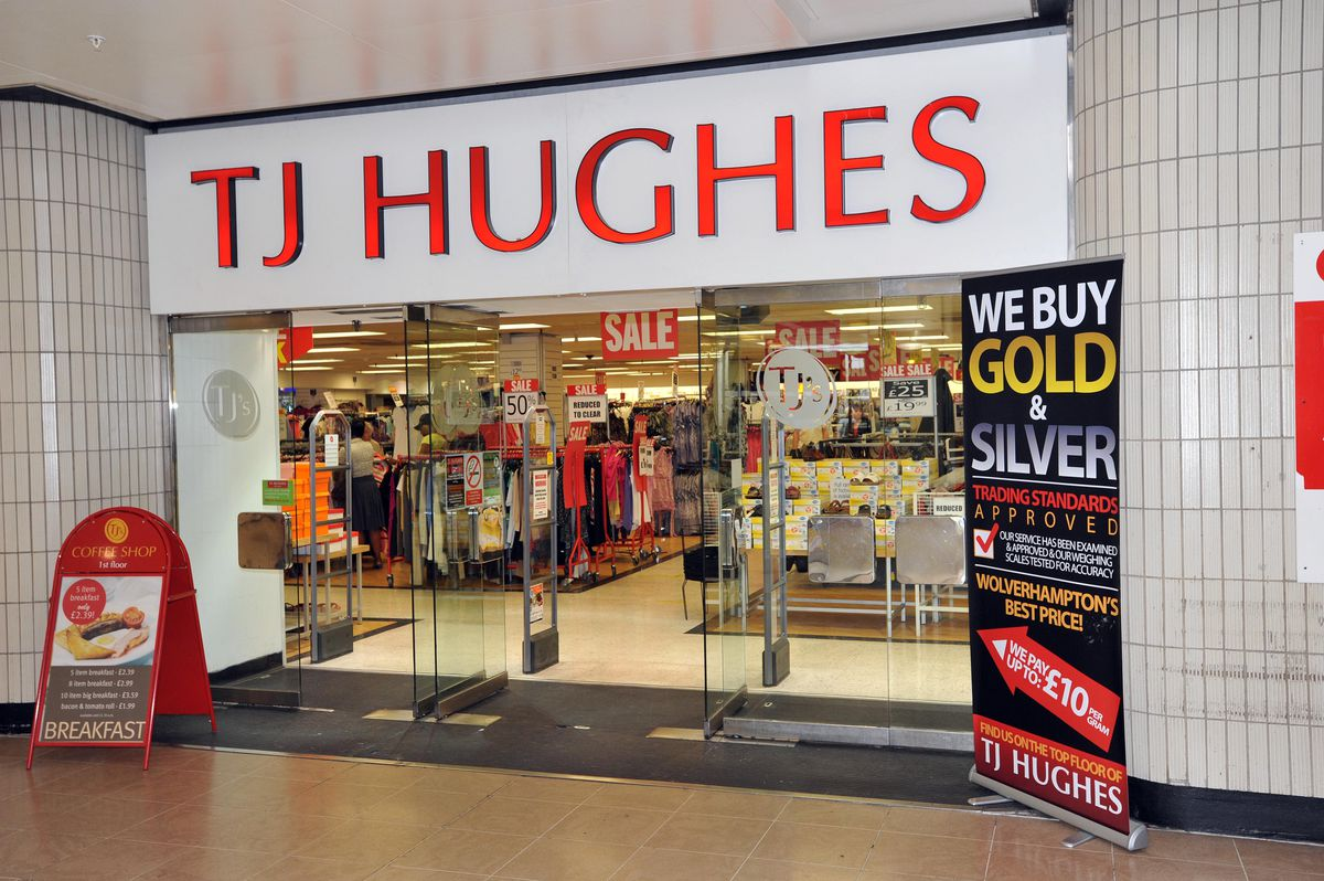 The old TJ Hughes store once stood on the site of Debenhams in the Mander Centre