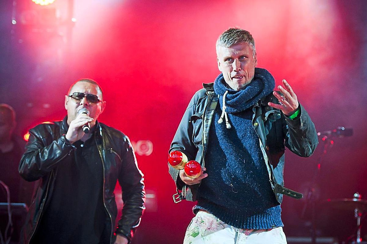 Mark Berry aka Bez and Shaun Ryder of The Happy Mondays perform on stage at Camp Bestival 2012, Lulworth Castle - Dorset.