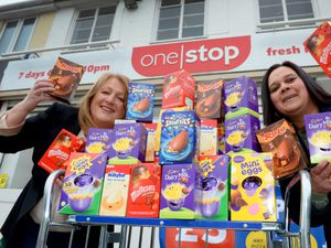 Councillor Linda Leach has delivered the Easter treats handed over by Marsella Tonks from The One Stop Shop in Bilston