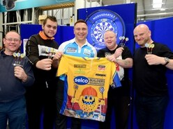 Gerwyn Price takes on fans in Wolverhampton ahead of Grand Slam of Darts - with PICTURES and VIDEO
