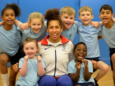 Team GB athlete Laura Samuels meets children at Bilston primary school