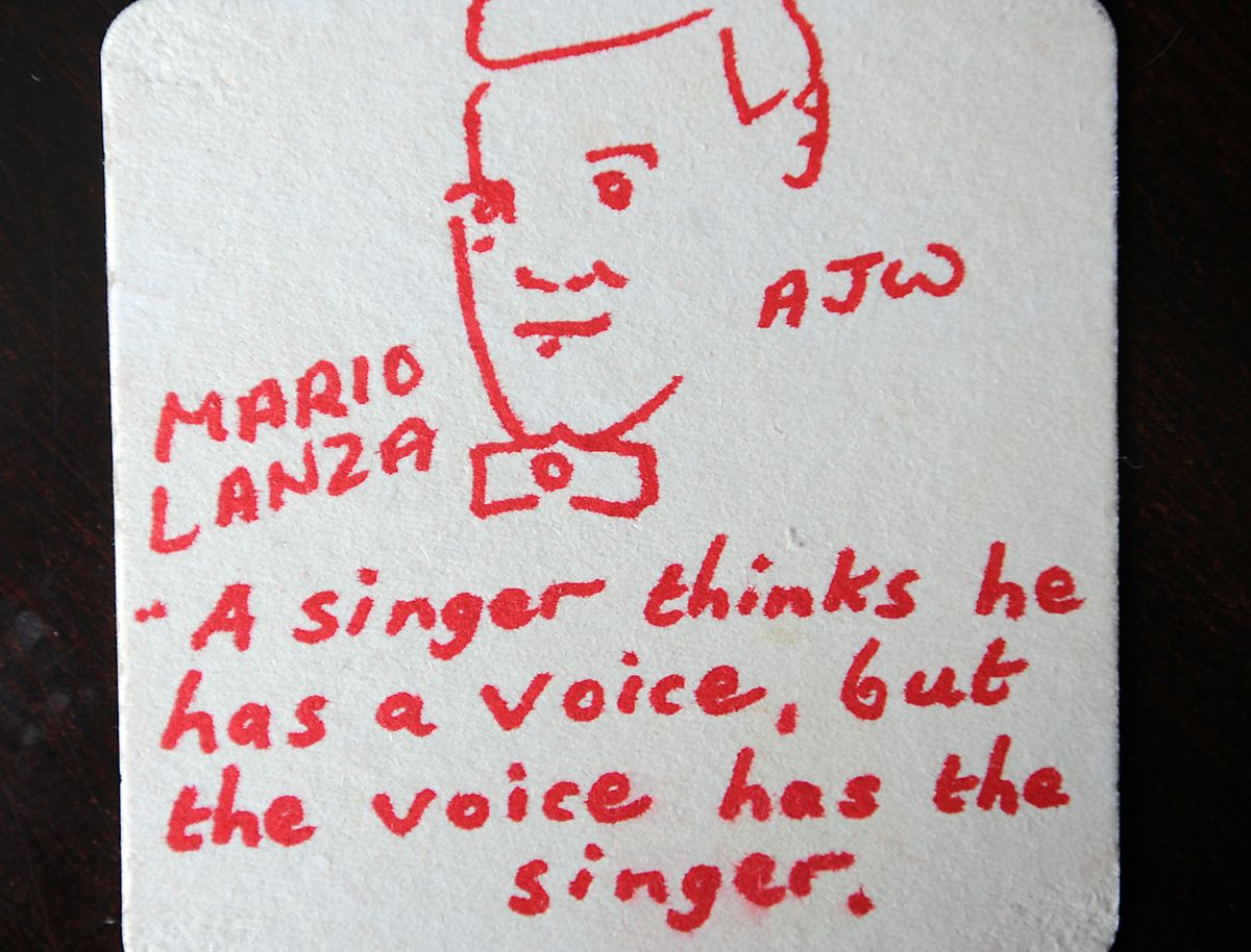 One of the ten Mario Lanza beer mats found at the Red Lion pub, Bilston Road, Wolverhampton, in 2009.
