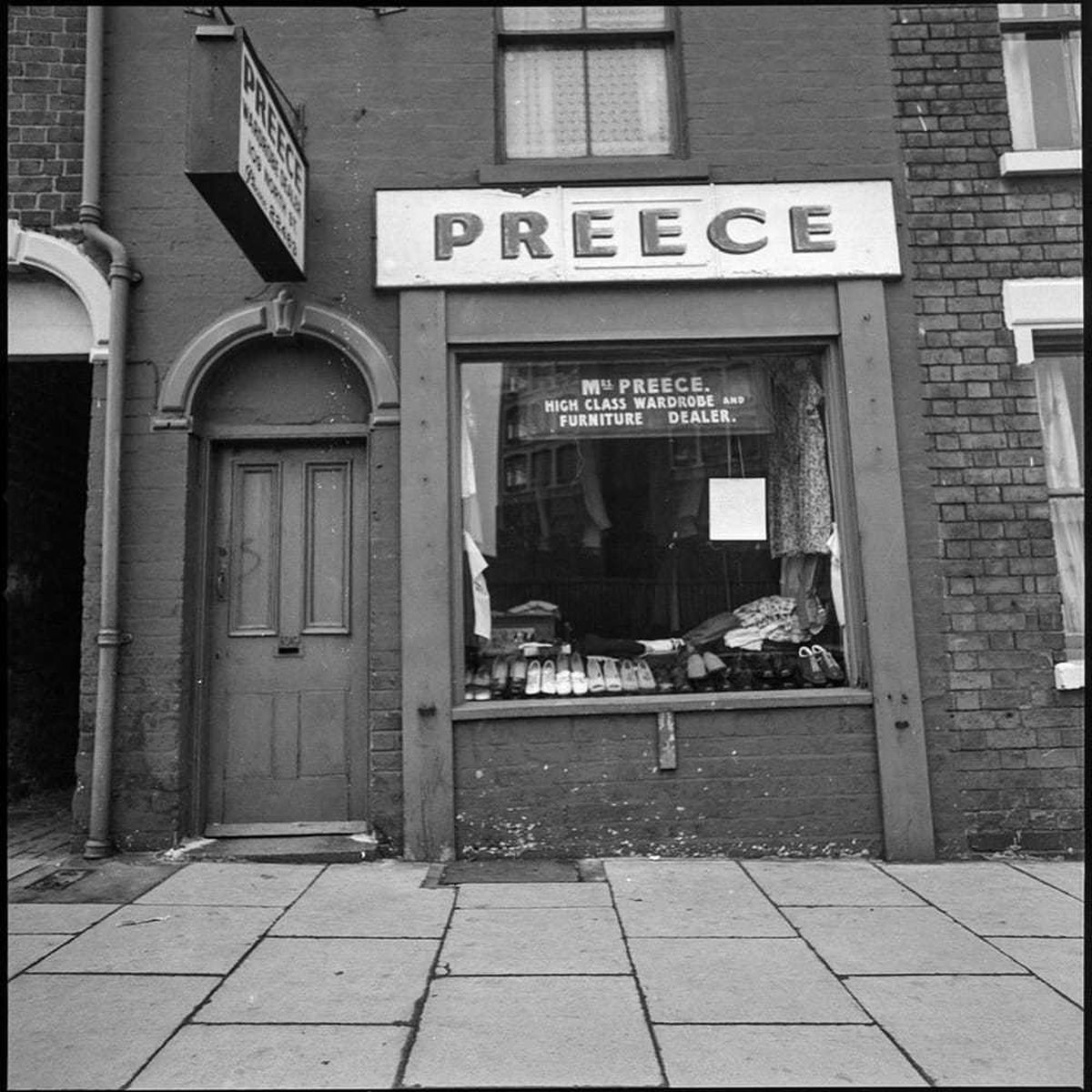 Preece's second-hand shop, popular for its books, was opposite The Feathers pub, which is now a university building