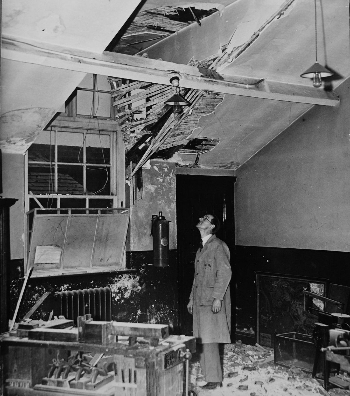 This images captures the aftermath of a bomb dropped on Beckminster Special School in 1940