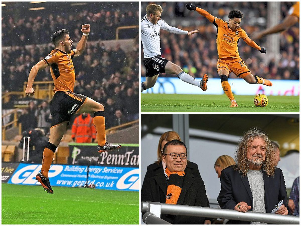 Left, club record signing Ruben Neves cost Wolves £15 million, and right, big signing Helder Costa set the club back £13 million, and Fosun's man at Wolves, Jeff Shi, with Robert Plant