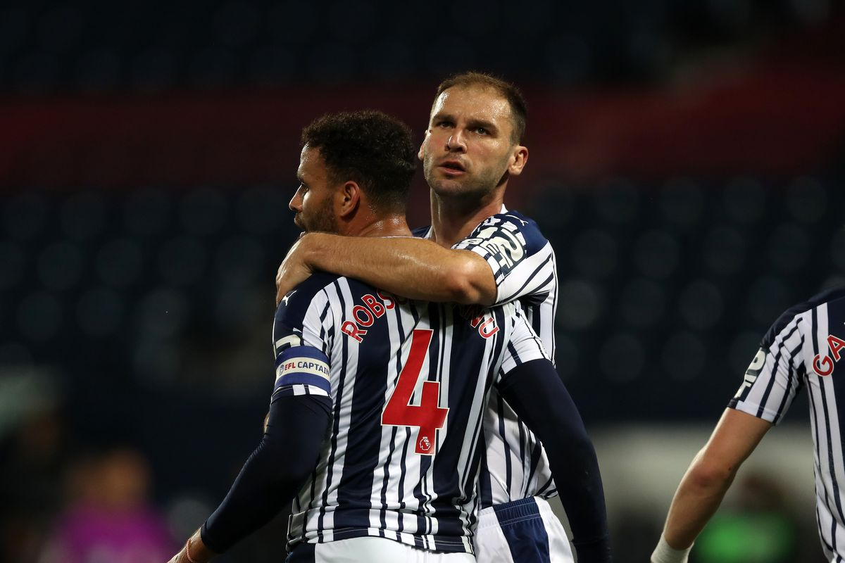 Hal Robson-Kanu of West Bromwich Albion celebrates after scoring a goal to make it 1-0 from the penalty spot with Branislav Ivanovic of West Bromwich Albion. (AMA)