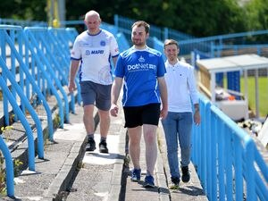 Halesowen Town FC fans, left ,Richard Ditchfield, Ben Bullock and Matt Ponter are 'walking to Wembley' by doing laps for the ground.