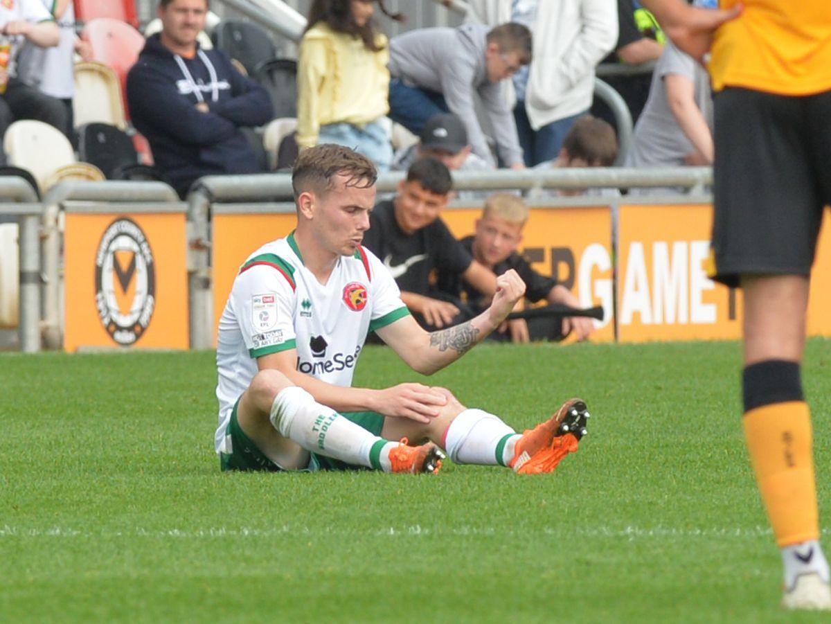 Liam Kinsella after the injury at Newport