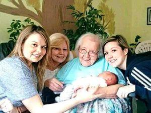 Irene Garbett with great grandchild Max, daughter Carol and grandchildren Kate (left) and Helen.