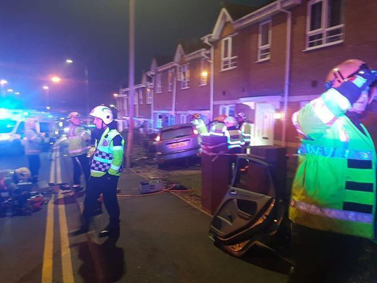 Emergency services at the scene of the crash in Colley Lane