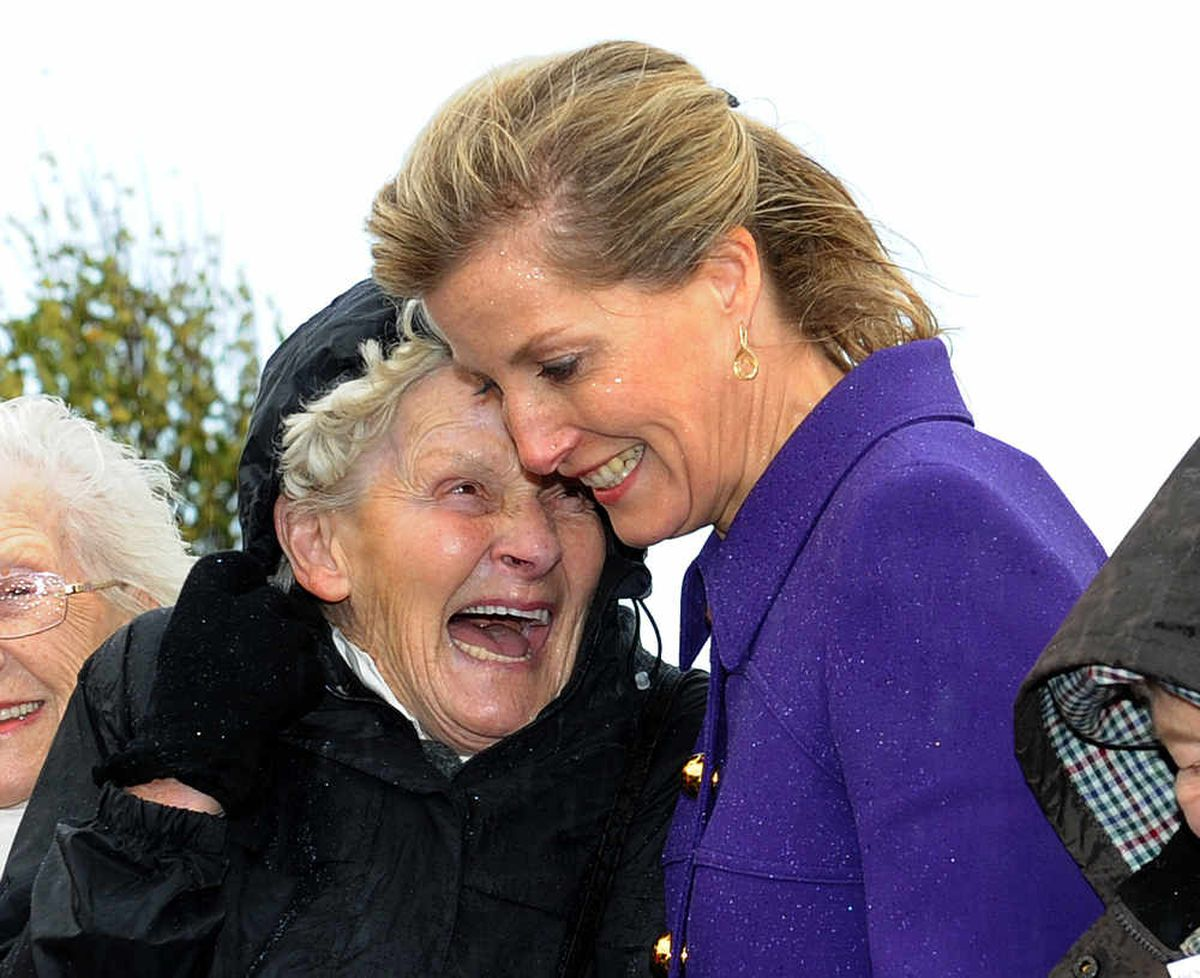Countess of Wessex shares a joke with land girl Ruth Jordan from Derbyshire.
