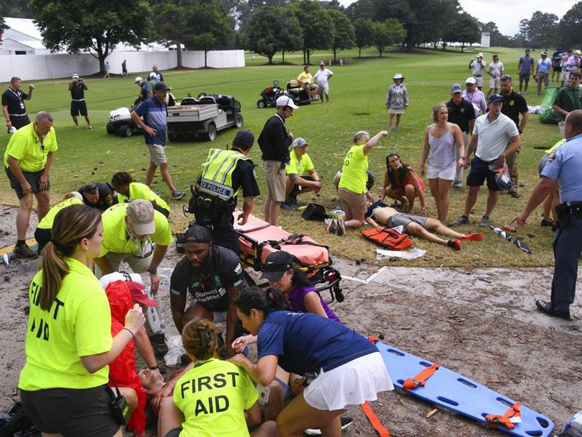 Spectators being tended to after the lightning strike