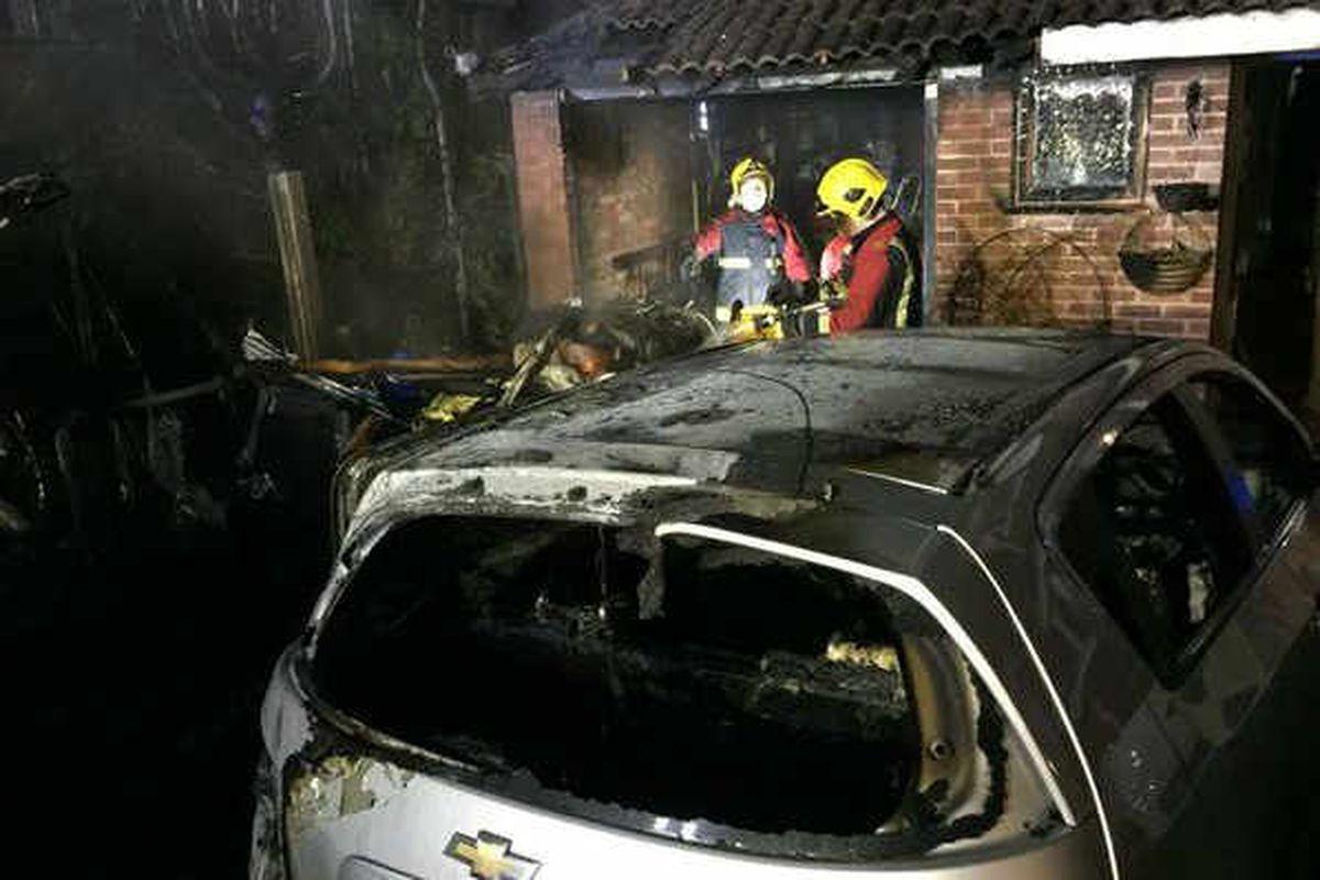 Driveway blaze destroys caravan and car in Dudley
