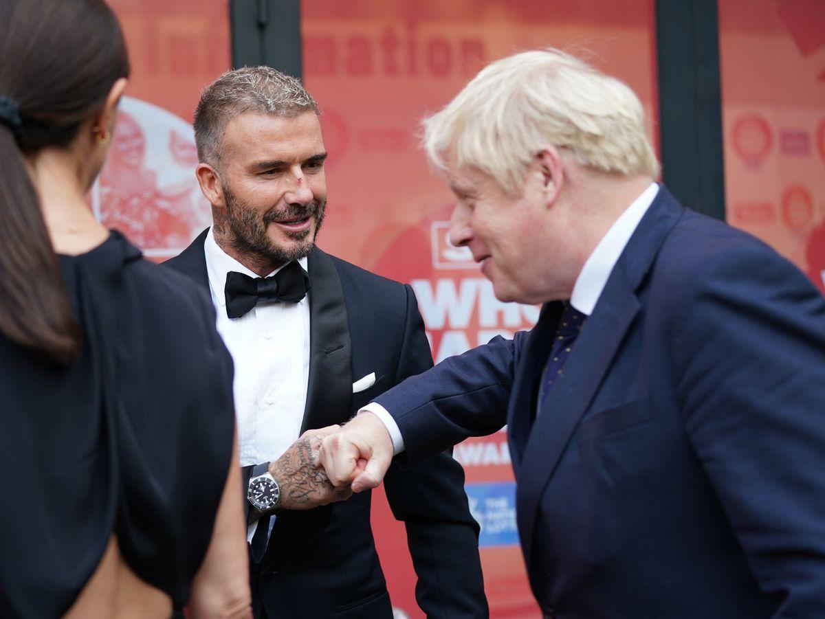 David Beckham and Prime Minister Boris Johnson attending the Who Cares Wins Awards