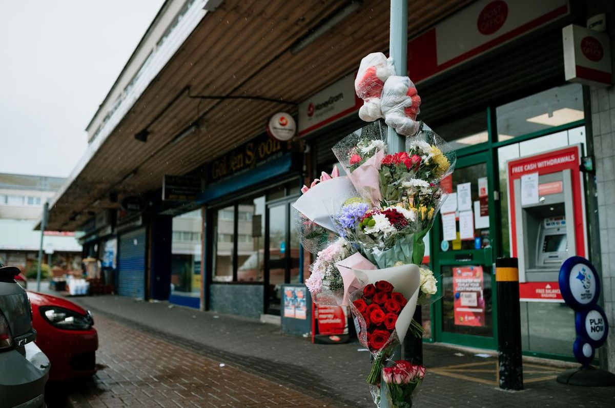 Floral tributes left at West Cross Shopping Centre in Smethwick