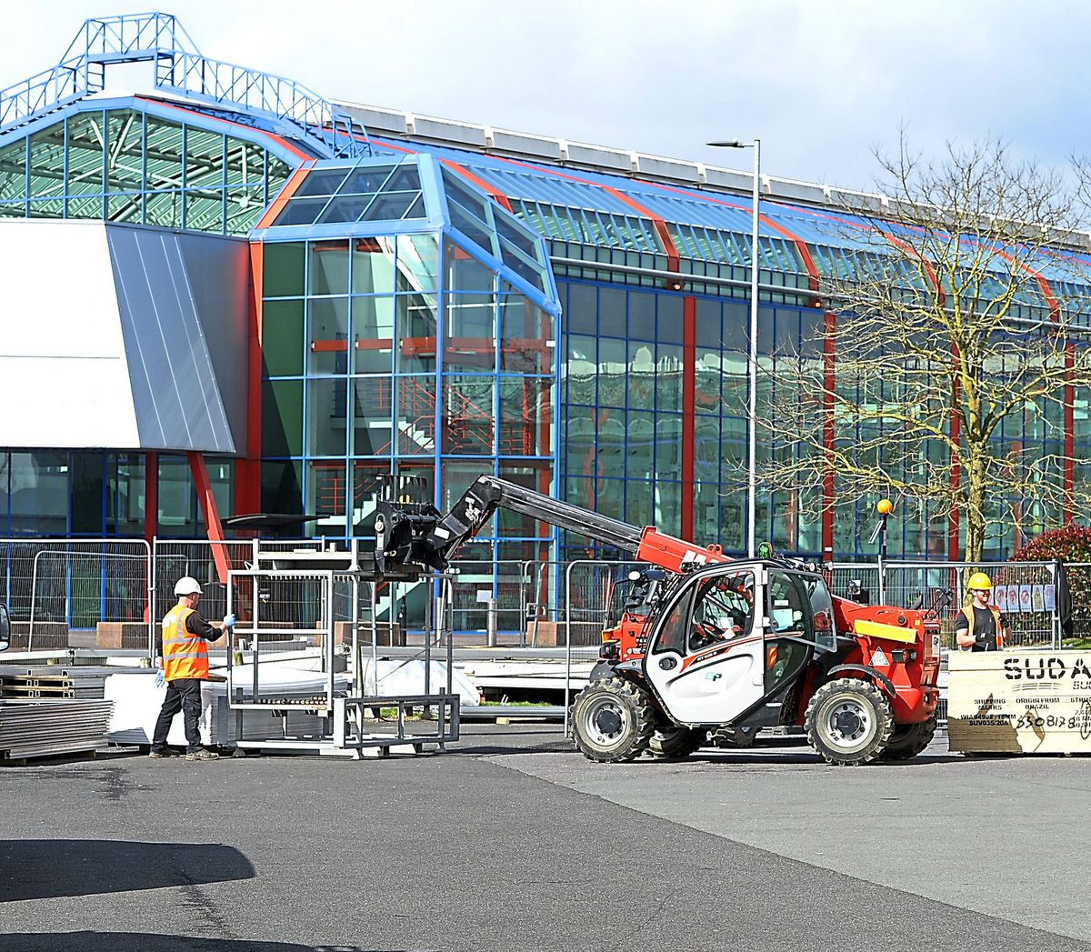 Work continues tat the NEC to create a temporary hospital during the coronavirus pandemic