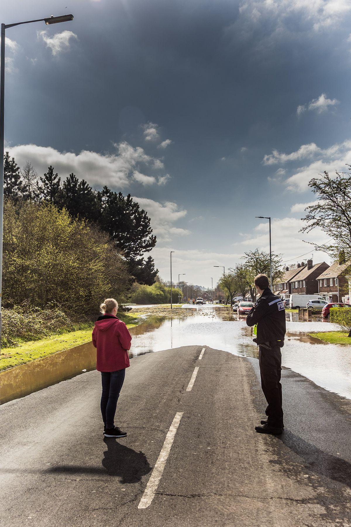 Flooding on Stowheath Lane after a water main burst. Photo: Paul Rush