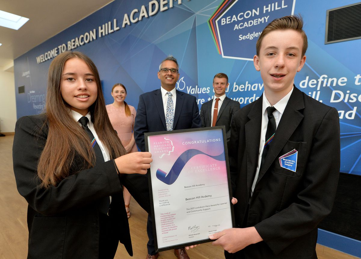 Pictured is Aaliyah Lewis, Anneka Johnson, principal Sukhjot Dhami, Karl Quiney and Kai Marsh