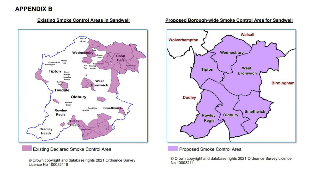 Maps showing existing and proposed smoke control areas in Sandwell