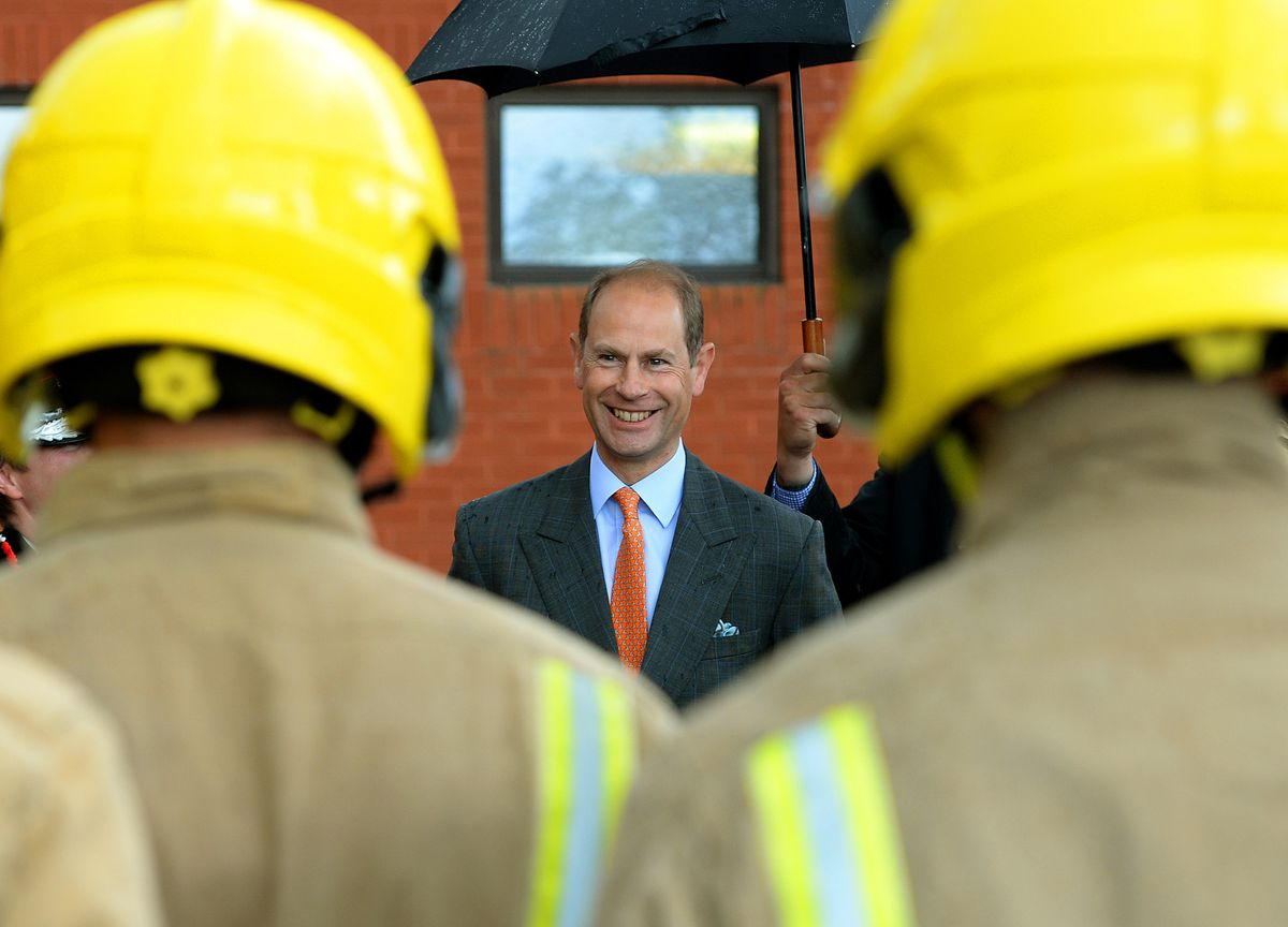 Prince Edward, Earl of Wessex, pictured during his visit to Staffordshire Fire and Rescue Service Headquarters, Pirehill, Stone