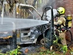 Cradley Heath arson attack leaves van gutted