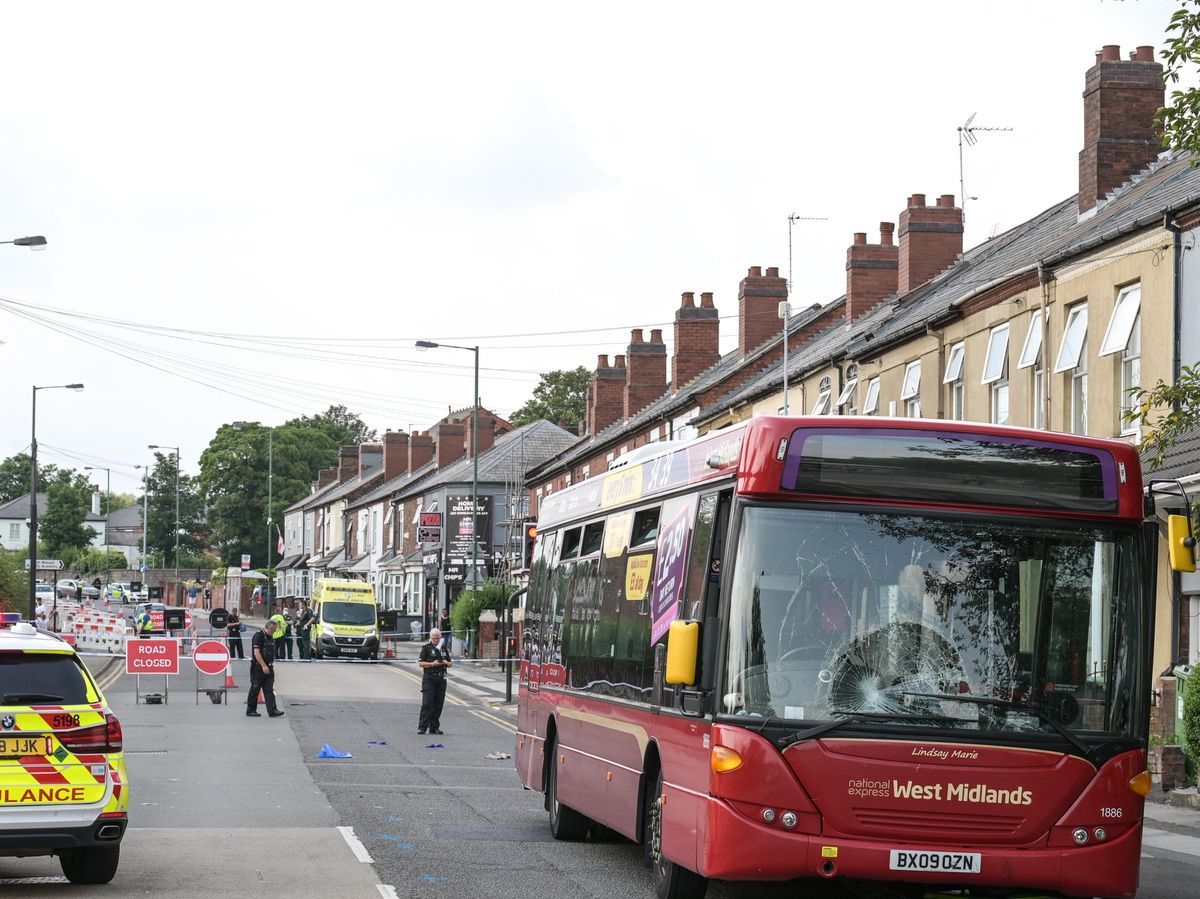 The scene in Bloxwich Road after the bus and bicycle crashed. Photo: SnapperSK