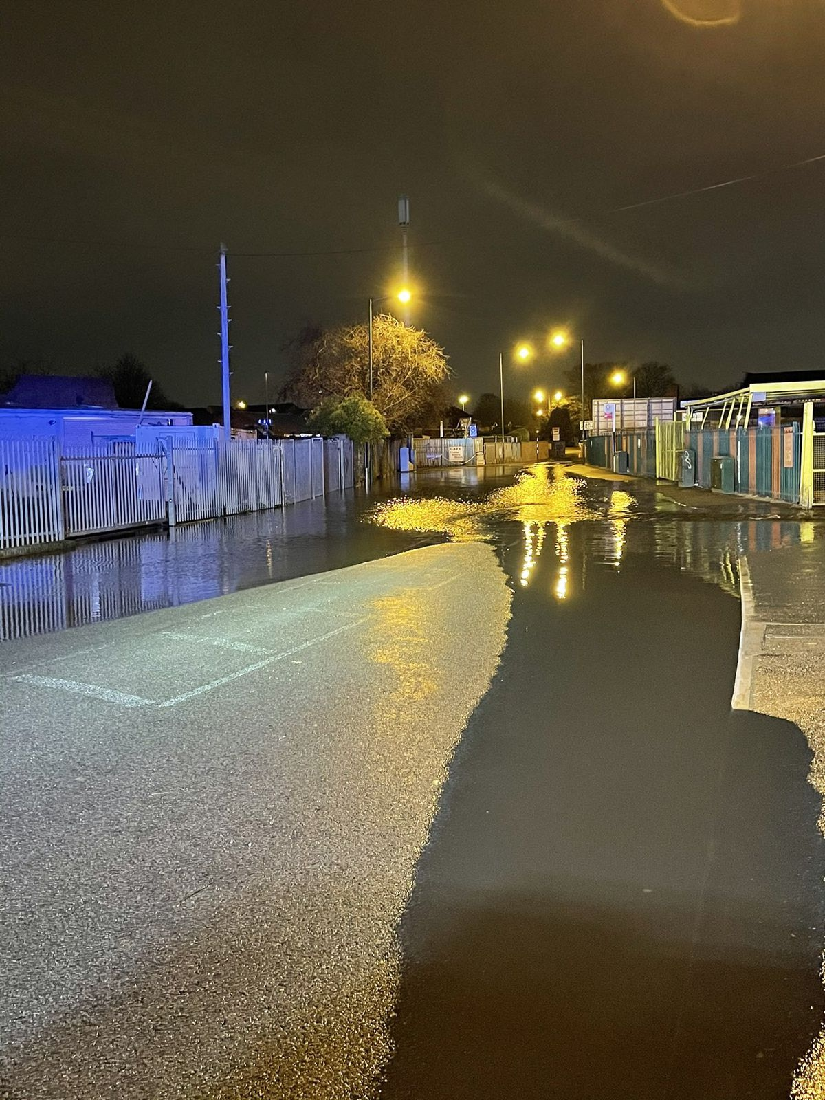 Water flooded Park Road in Willenhall