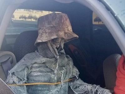 Man dresses Halloween skeleton as passenger to use car-sharing lane