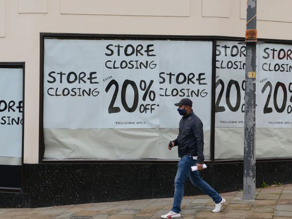 Store closing sale signs in the windows, at Beatties, Wolverhampton..