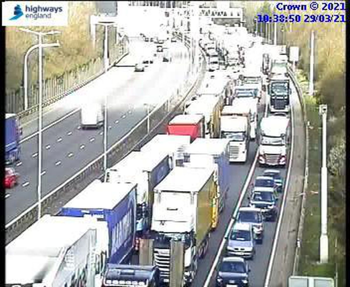 Traffic was still backed up on the M6 southbound near Wolverhampton at 10.30am. Photo: Highways England