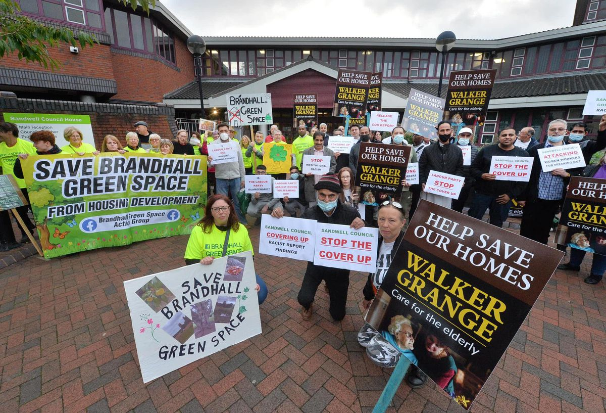 Three different protest groups were outside Sandwell Council's HQ on Tuesday: Walker Grange Care Home group; anti-racism campaigners and a Brandhall Green Space group too