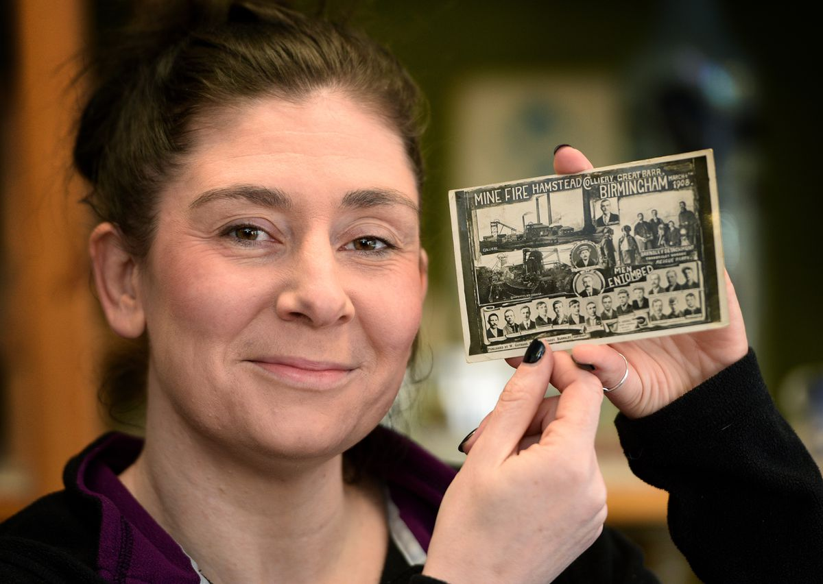 Kelly Mayall from Vintage Mummy with a 1908 postcard featuring the Great Barr Colliery Disaster