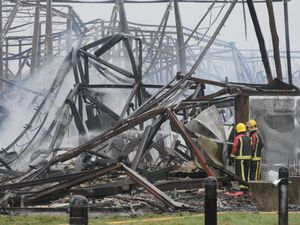 The aftermath of the fire that destroyed the former Manor High building