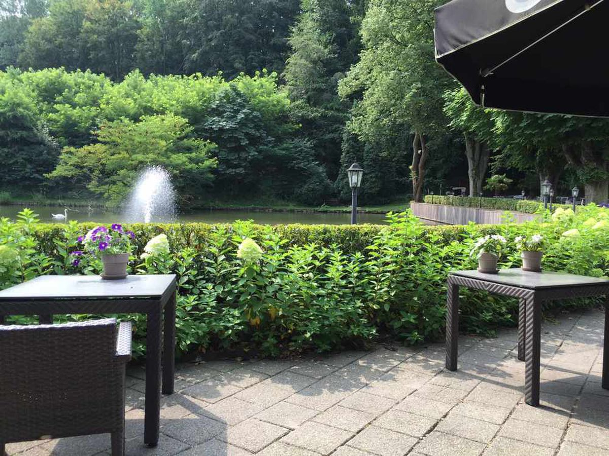 The view from Albion's garden at their hotel in Venlo, Holland.