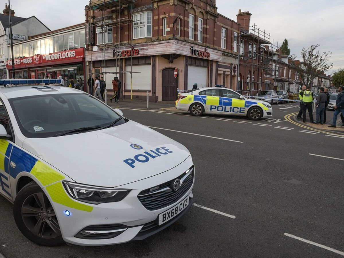 Police cordon off roads in Cape Hill, Smethwick, after violence flared. Picture: @SnapperSK