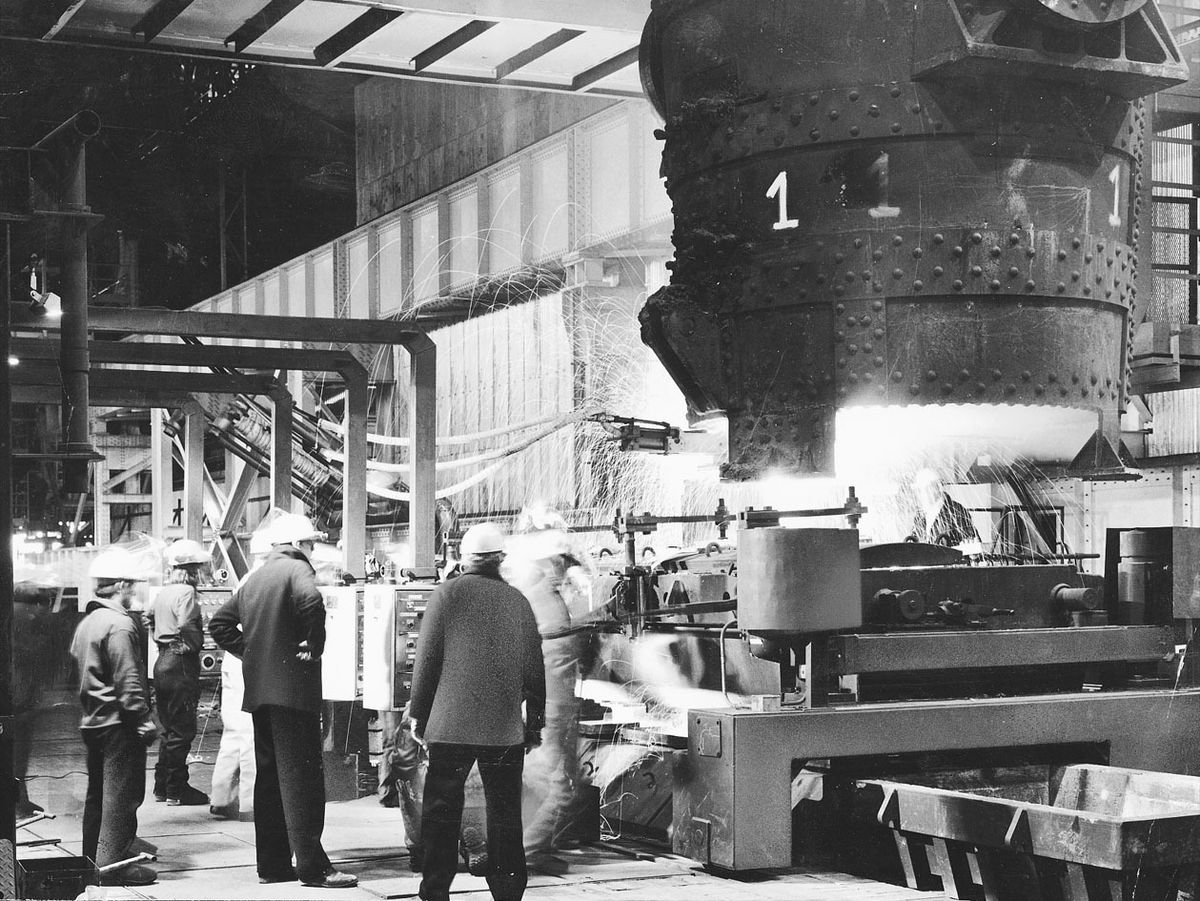 Round Oak steel works celebrating the end of a £21 million modernisation programme when this picture was taken in 1976. Six years later, the plant was closed.