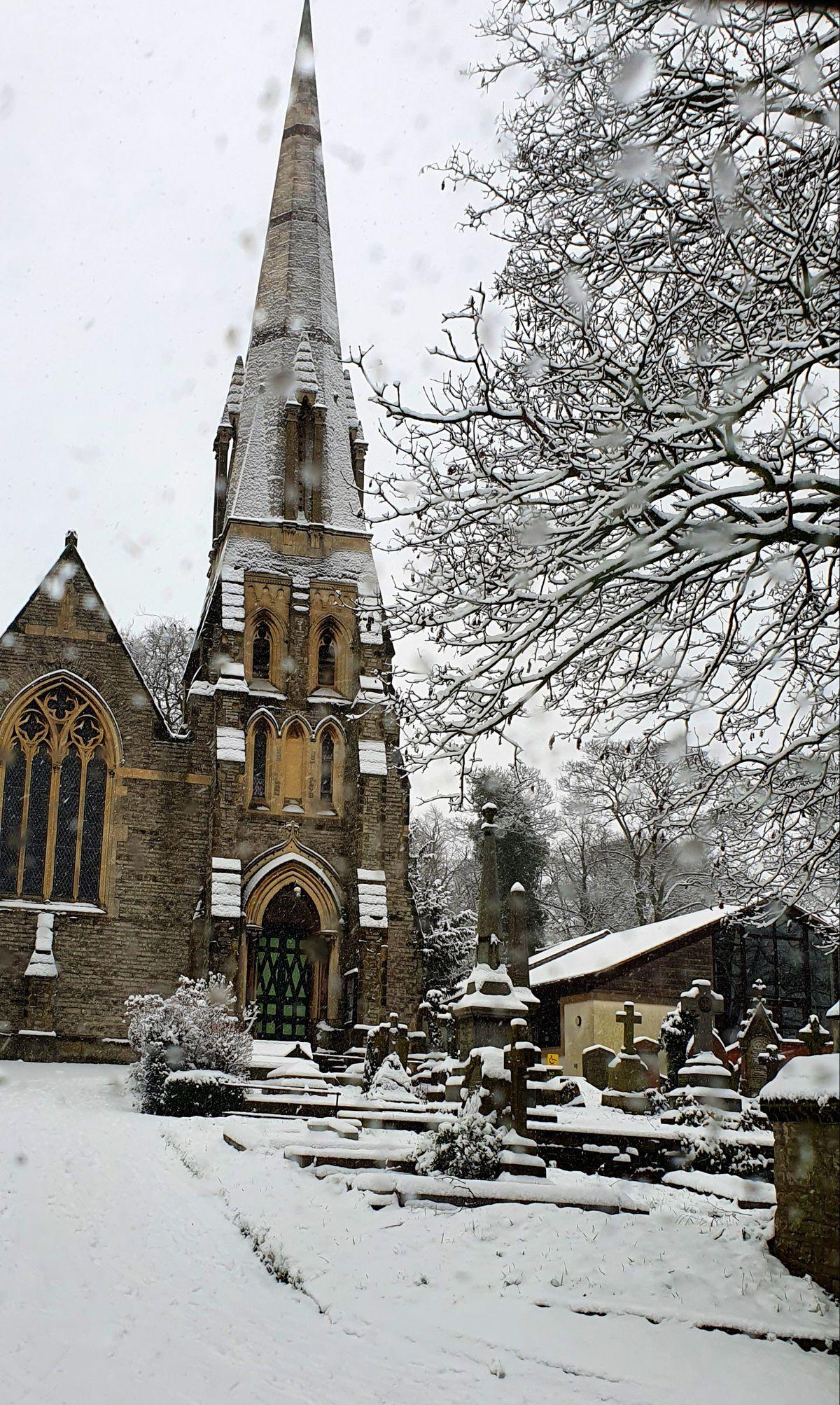 Snow at Saint Michael's Church, Walsall. Photo: Neeba Riaz