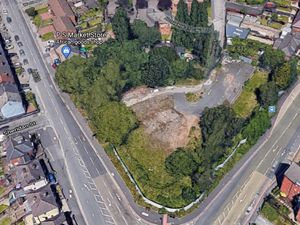 Aerial view of the proposed travellers transit site on the corner of Darlaston Road and Pleck Road, Walsall.Photo: Google