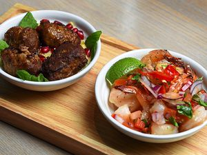 Exotic – garlic and chilli prawns, and Moroccan lamb