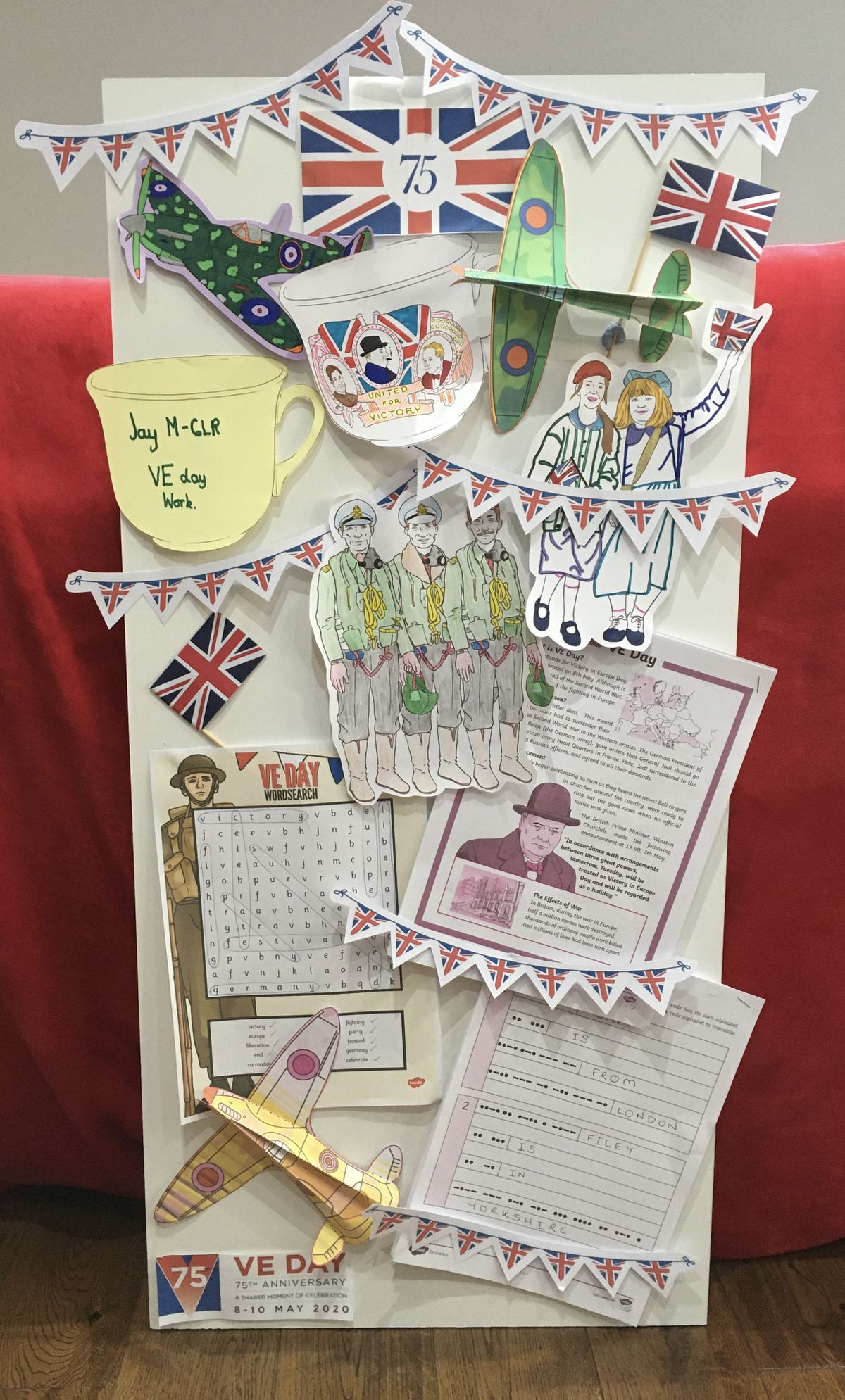 Activities provided by Uplands Junior school where our Jay McNaughton, year 6, made a VE Day collage